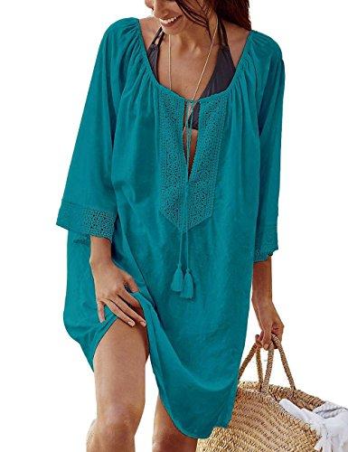 BAISHENGGT Damen Strandkleid Einheit Größe Kleidung Strand Hemdkleid Cover Up Dunkelgrün one size (Kleidung Strand)