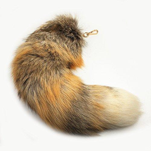 Tierschwanz Anhänger Prärie Fuchsschwanz,Besonders Groß Schlüsselring,Taschen Zusatz Anhänger Autoschlüsselketten Schlüssel Anhänger,Weiche Flaumige Dichte Dekorationen Natürliche Farbe,etwa 45cm