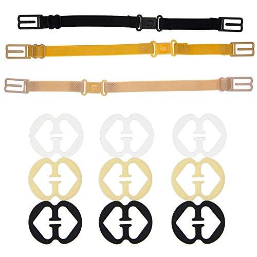 Juanya 3 Pieces Non-slip Bra Straps Elastic Adjustable Bra Strap Holder with 9 Pieces Bra Clips