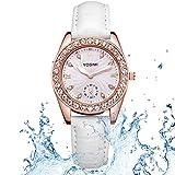 Yosimi, Quarz-Armbanduhr für Damen, mit weißem Lederarmband, analog, goldfarben