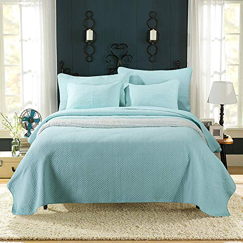 King Size Sommer Baumwolle Stickerei Quilt Bettbezug Sets Werfen 3 Stück Bettwäsche,Blue-250cm*270cm ()