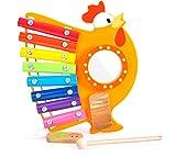 BALOO SPIELE. Xylophon-Hahn Musik Set. Spielzeug aus Holz für Baby und Kinder