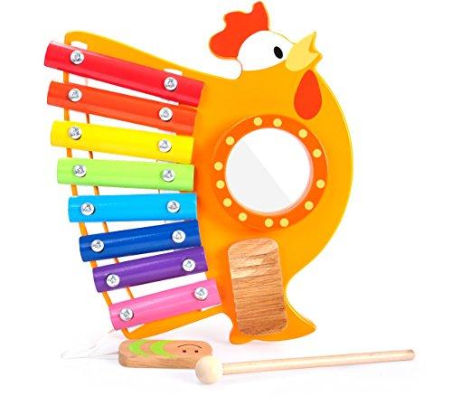 BALOO SPIELE. Xylophon-Hahn Musik Set. 2 in 1 Spielzeug und Musikinstrument aus Holz für Babys und Kinder zur Förderung der musikalischen Entwicklung