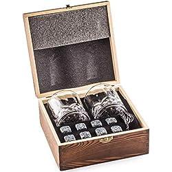 Deluxe Ensemble de Cadeaux Whisky Pierres - Soyez différent lors du choix d'un cadeau - Coffret en bois artisanal avec un 2 verres à whiskey - 8 Glacon Granit - Whisky Stones Gift Set - Whiskey Rocks