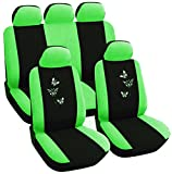 WOLTU AS7242 Auto Sitzbezug , Komplettset , PET , Schonsitz Bezug Set , universal passend , Sitzschutz , Stickerei Butterfly , Super Design , Schwarz/Grün , NEU & OVP