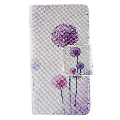 [A4E] Handyhülle passend für Sony Xperia Z5 Compact Tasche aus Kunstleder, seitlicher Magnetverschluss, Standfuß, Kreditkartenfächer, mit blühendem Löwenzahn (lila, pink, weiß, schwarz)