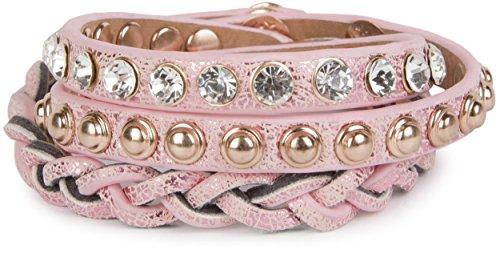 styleBREAKER Lederarmband mit Strass, Kugelnieten und Flechtteil, Wickelarmband, Damen 05040015, Farbe:Antik-Rosa