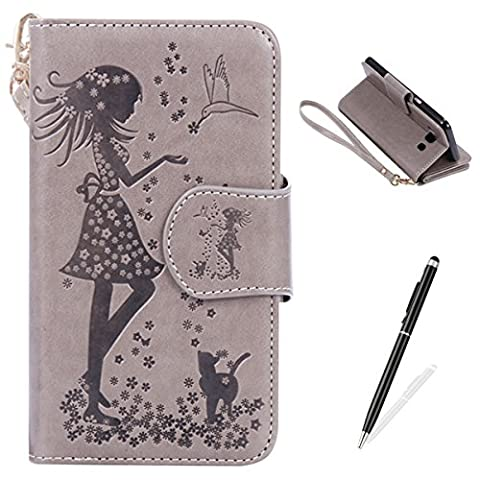 Feeltech Samsung Galaxy J510/J5 2016 Case [Free 2 in 1 Stylus] PU Leather Wallet Style With Card Slot Magnetic Closure HybridKickstand Stand Function Protective Flip Cover Elegant Lovely girl and Flowers Embossed Pattern With Hand Wrist Strap Book Style For Samsung Galaxy J510/J5 2016 - Grey