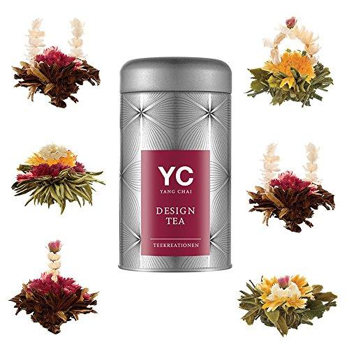 """Yang Chai Tee Teeblumen Geschenkset Mix""""Symbiosis"""" Grüner Tee MIT Teeblumenhalter."""