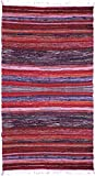 Exotic India Morning-Glory Dhurrie with Multicolor Woven Stripes - Pure Cotton