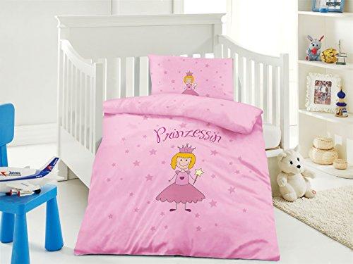 Belsonno® Kinder Bettwäsche 100 x 135 cm + Kissen 40 x 60 cm Baumwolle Prinzessin | ÖKO-TEX STANDARD 100 mit Reißverschluss | Erhältlich mit verschiedenen Motiven | Kinderbettwäsche-Set, Babybettwäsche, bedruckter Bettbezug für Jungen & Mädchen