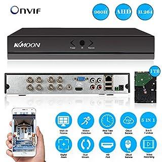 KKMOON 8CH DVR with 1TB Hard Drive; 8 Channel Full 960H DVR HVR NVR HDMI P2P Cloud Network Onvif Digital Video Recorder