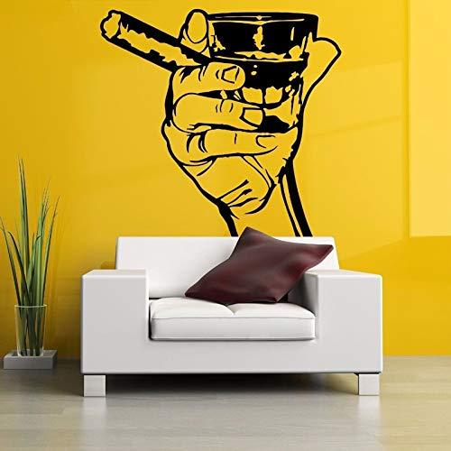 jiuyaomai Colpo a Mano Poster per sigari Adesivi murali Rimovibili per Soggiorno Moda Stile Art Decor Decalcomanie da Muro in Vinile Camera da Letto Murales Bianco 57X60cm