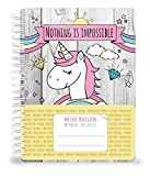 Carnet de notes journal Unicorn DIN A5avec un niedlichen, adorables Licorne, arc-en-ciel et nuages 70feuilles (80g/m²), ligné–Cahier Handmade by jamonm Edia