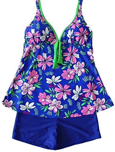 Sawadikaa Damen Retro Geblümter Badeanzug Große Größen Ein Stück Badebekleidung Monokinis Tankini Bademode Blau 46 (Tankini Nylon Plus Größe)