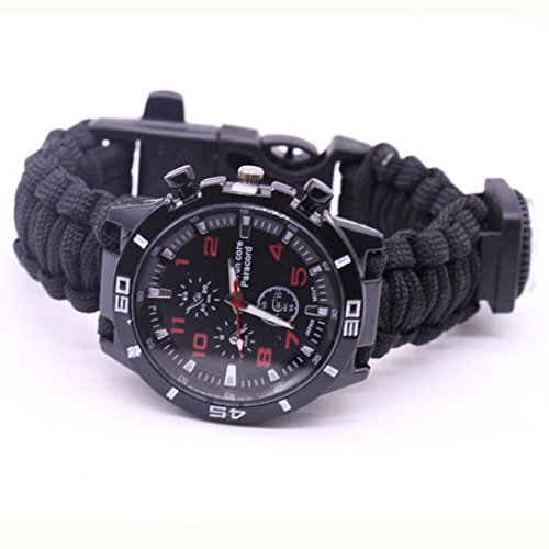 Yogogo Outdoor Survival Watch Armband Paracord Kompass Flint Feuerstarter Pfeife (Bunt D) - 2