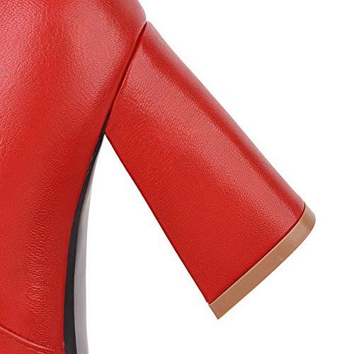 Donna Pelle In Alto Rossi Punta Zip Colore Di Voguezone009 Tacco A Stivali Solido Potrebbe r8FrwT