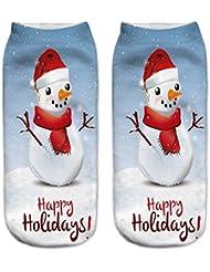 Calcetines de tobillo de 3D impresión de Feliz Navidad de las mujeres, Moresave calcetines cortos respirables suaves Regalos perfectos de Navidad para la familia de amigos