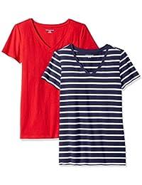 Amazon Essentials Damen-T-Shirt, klassisch, kurzärmlig, V-Ausschnitt, 2er-Pack