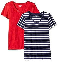 Amazon Essentials Damen-T-Shirt, klassisch, kurzärmlig, V-Ausschnitt, 2er-Pack, navy mariner stripe/red, US S (EU S-M)