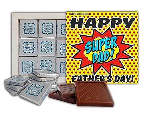 Cadeau de Chocolat FÊTE DES PÈRES 13x13cm 1 boîte (SuperDad)