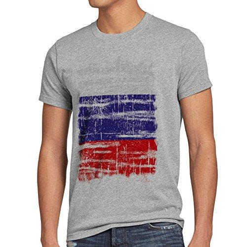 Russland Vintage Flagge Herren T-Shirt Russia EM WM Olympia, Größe:L;Farbe:Grau meliert