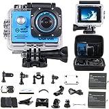 """WiFi Unterwasserkamera Wasserdichte Action Kamera """"30M HD 1080P"""" mit 2 Akkus, kostenloses Zubehör für Outdooraktivitäten wie z.B. fahradfahren, skilaufen, motofahren und für Wassersportarten"""