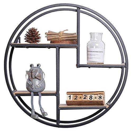 PROKTH Wandregal, aus massivem Holz, zum Aufhängen, Schmiedeeisen, Wandregal, runde Wand-Blumenständer, Hintergrund-Wanddekoration für Sammlerstücke, kleine Topfpflanzen -