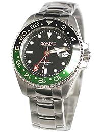 No limit Nautec eysse-reloj jack Fish rhöna analógico acero JKFS-QZ-GMT-STSTBKGR-BK