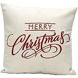 Fundas De Cojines,Xinantime Funda de almohada Decoración Festival de Navidad Letra (Blanco)