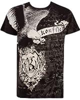 Sakkas Metallic Silver Accent Eagle Short Sleeve Crew Neck Cotton Mens Fashion T-Shirt