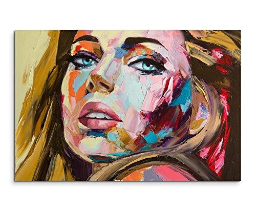Ideen Sexy Bild (Wandbild 120x80cm Abstraktes Fotodruck aus Ölgemälde – Blonde Frau auf Leinwand für Wohnzimmer, Büro, Schlafzimmer, Ferienwohnung u.v.m. Gestochen scharf in Top)