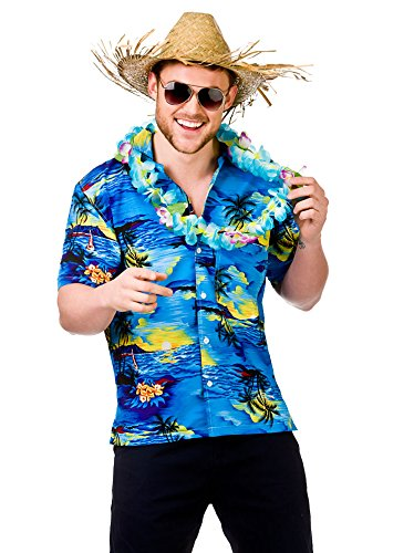 "Preisvergleich Produktbild Hawaiian Shirt (Blue Palm Trees) - Adult Accessory Man: L (Chest: 44"")"