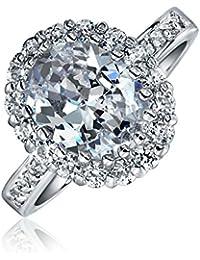 Bling Jewelry Anillo de Plata Esterlina CZ 4ct Oval Anillo de Compromiso