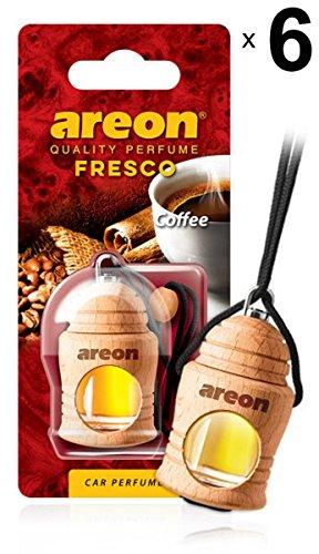 Areon Fresco Auto Duft Kaffee Autoduft Schwarz Cafe Lufterfrischer Glas Flasche Duftflakon Parfüm Flakon Holz Set Aufhängen Hängend Anhänger Spiegel Geruch Erfrischer 4ml 3D ( Coffee Pack x 6 ) -