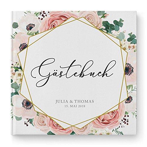DeinWeddingshop Gästebuch Hochzeit personalisiert Modern Floral Boho - Hochzeitsgästebuch, Hardcover 21x21 cm, rosé weiß