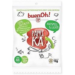 Knusprige getrocknete Paprika – ohne Zucker, ohne Gluten, keine Zusatzstoffe und nicht frittiert. 100% natürlich, ideal geeignet als Snack, für kalorienarme und vegane Ernährung - 18 Tüten à 15 Gramm.