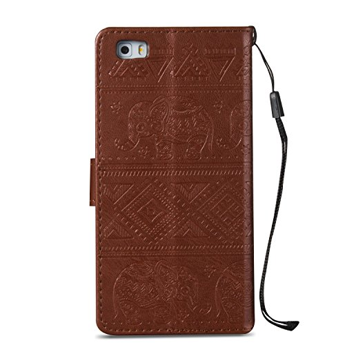 Für Huawei P8 Lite Premium Leder Schutzhülle, Soft PU / TPU geprägte Textur Horizontale Flip Stand Case Cover mit Lanyard & Card Bargeldhalter ( Color : Blue ) Brown