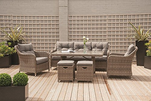 Lounge Möbel Patio (Rattan Patio Lounge Dining Set 7Sitzer Stuhl & Sofa-Set)