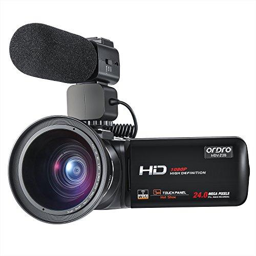 ORDRO Professionell Wifi Camcorder Full HD 1080P 30FPS Digital Videokamera mit Externem Mikrofon und Weitwinkelobjektiv 3.0 Zoll LCD Touchscreen Fernbedienung