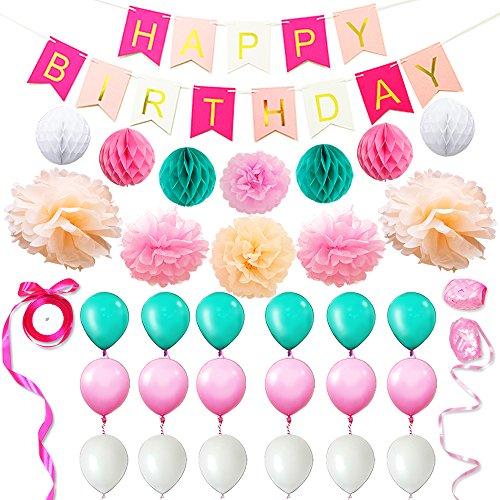 Eightnight Papier Handwerk Sets für DIY Happy Birthday Dekorationen einschließlich Banner, Tissue Papier Wabe Pom Pom Ball Laternen, Pom Pom Blumen, Bänder, Ballons