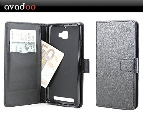 avadoo® Archos Diamond Plus Flip Case Cover Tasche Schwarz mit Magnetverschluss und Dualnaht als Cover Tasche Hülle
