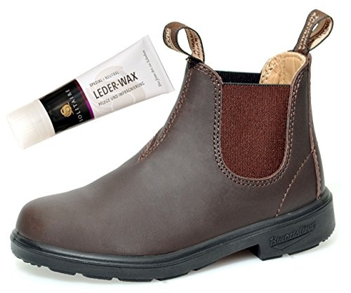 Blundstone Boots Style 530 für Kinder Blunnies Leder Stiefelette - Brown + Lederwax von Solitaire (UK 13 / EU 31.5) -