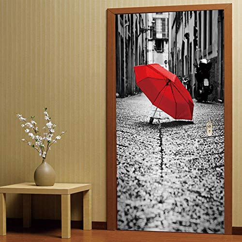 YSZM Türsticker Türen Aufkleber 3D Rote Umbrella Straße 77X200CM Selbstklebende Stereo-Art Deco-Tapeten-Fototapeten-Aufkleberbadezimmer der Kinderküche Toilette selbstklebend