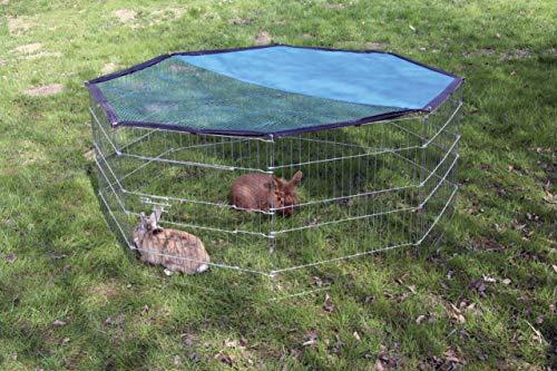 Kerbl Freigehege aus 8 Gittern, verzinkt, mit Netz und Tür, Ø 143 cm - 2