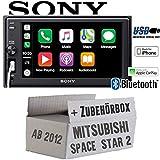 Mitsubishi Space Star 2 ab 2012 - Autoradio Radio Sony XAV-AX1000-2DIN Bluetooth | Apple CarPlay | USB - Einbauzubehör - Einbauset