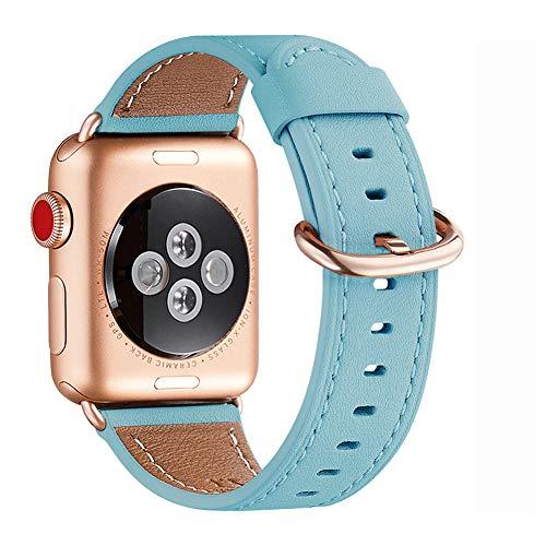WFEAGL Kompatibel für Watch Armband 38mm 40mm,Top Grain Lederband Ersatzband mit Edelstahl-Verschluss Kompatibel für Serie 4/3/2/1,Sport, Edition (38mm 40mm, Tiffany Blau+roségold Adapter)