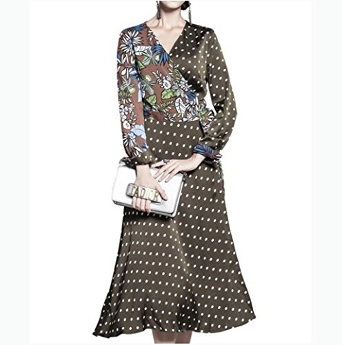 DZYZ autumn and winter women Europe and the United States wave dotted mosaic dress V-neck long sleeve lace dress , army green , l