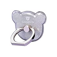 Cell Phone Ring Stand Holder, CAFELE 360° Rotation Smartphone Grip Sticky Kickstand - Bear Shape (Silver)