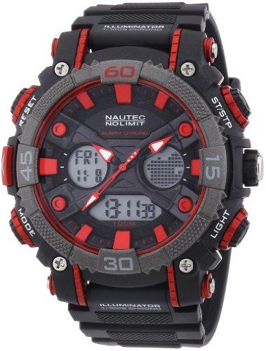 Nautec No Limit Men's Quartz Watch Akula AD AK QZ-AD/PCBKPCGYBK-RD with Plastic Strap